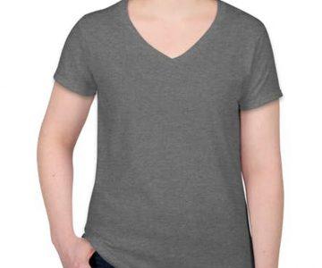 Camiseta baby look cinza mescla lisa
