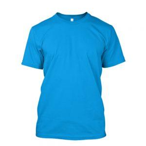 Camiseta de Algodão Masculina Azul Turquesa Lisa