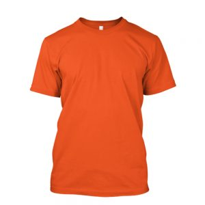 Camiseta de algodão masculina laranja lisa