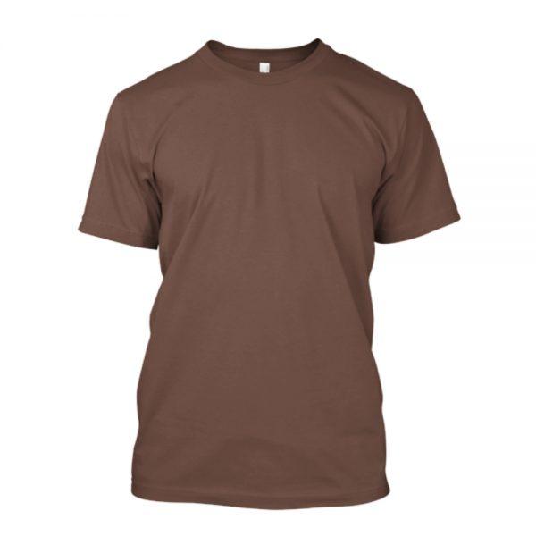 Camiseta de algodão masculina marrom lisa