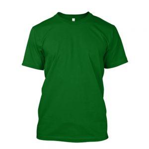 camiseta de algodão masculina verde bandeira lisa