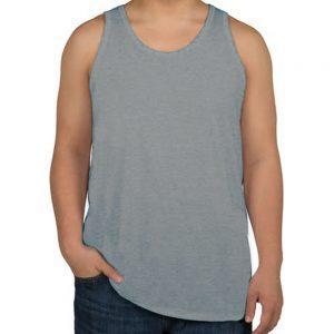 camiseta regata masculina cinza clara lisa