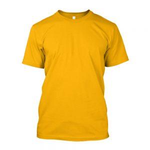Camiseta de Algodão Masculina Amarela Lisa