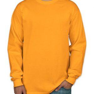 Camiseta manga longa masculina amarela lisa