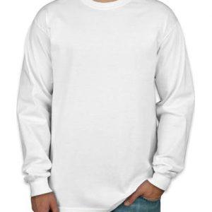 Camiseta manga longa masculina branca lisa