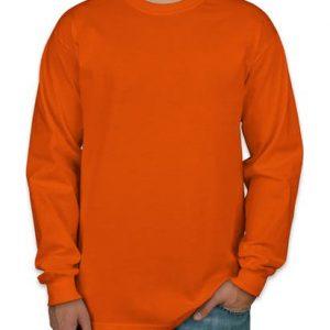Camiseta manga longa masculina laranja lisa