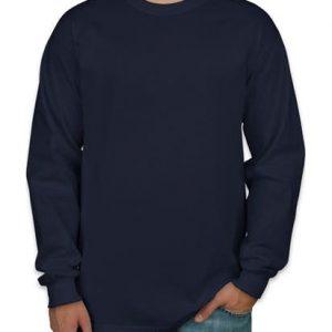 Camiseta manga longa masculina azul marinho