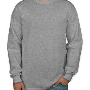 Camiseta manga longa masculina cinza mescla lisa