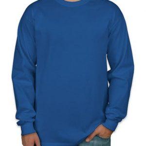 camiseta manga longa azul royal lisa