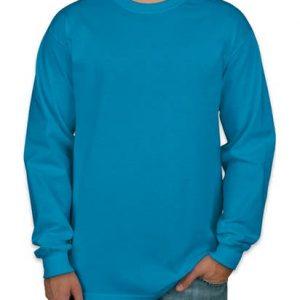 camiseta manga longa azul turqueza lisa